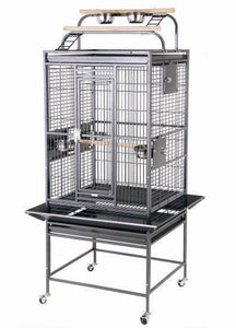 "24""x22""x60"" Double Play Top Bird Cage - Platinum White"