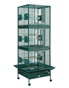 "24""x22"" Triple Stack Bird Cage - Platinum White"