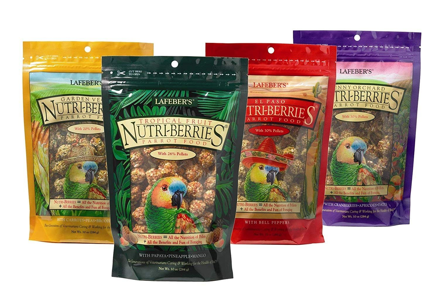 LAFEBER'S Nutri-Berries Pet Bird Food Bundle with Tropical Fruit, El Paso, Sunny Orchard, and Garden Veggie for Parrots, 10 oz Each (4 Items)