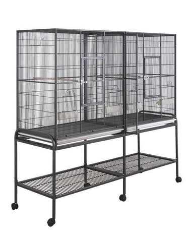 "Flat Top Aviary 64""x21"" Double Flight Bird Cage - Black"