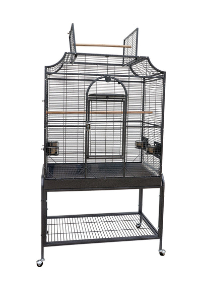 "38""x23""x69"" Opening Scroll Top Bird Cage with Stand - Platinum White"