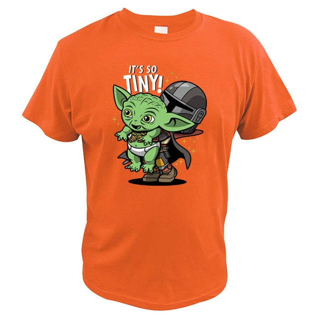 Star Wars Funny Tshirt Yoda The Mandalorian Space Western TV Series Tops It's So Tiny EU Size Digital Print T Shirt Men