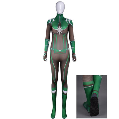 Captain Marvel, Carol Danvers green Cosplay Costume