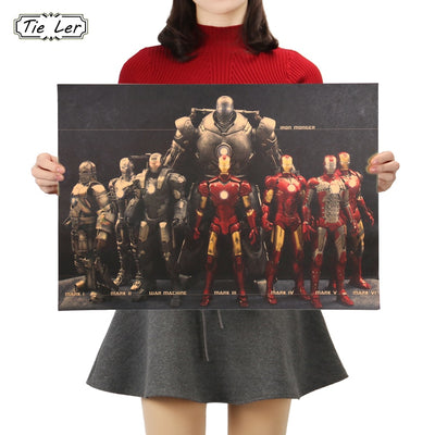 Marvel Hero Iron Man Vintage Poster 51X36cm