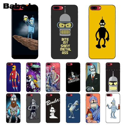 Babaite Futurama Bender Bite My Shiny TPU Soft Silicone Black Phone Case for iPhone 5 5Sx 6 7 7plus 8 8Plus X XS MAX XR