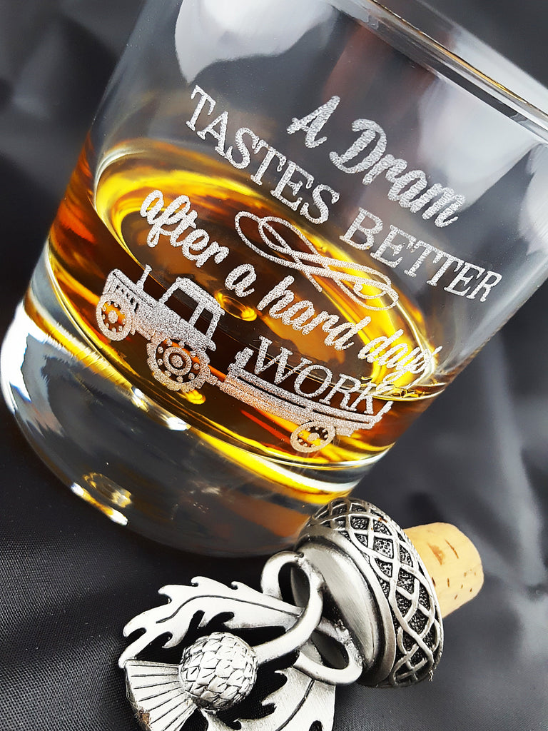 Engraved Whisky/Nip Bubble-Base Glass in Gift Box - Tractor 'A Dram Tastes Better...'