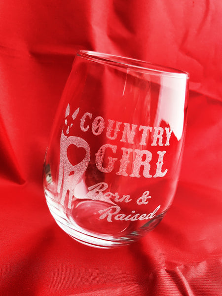Engraved Stemless Wine Glass in Gift Box -Personalised Name Country Girl