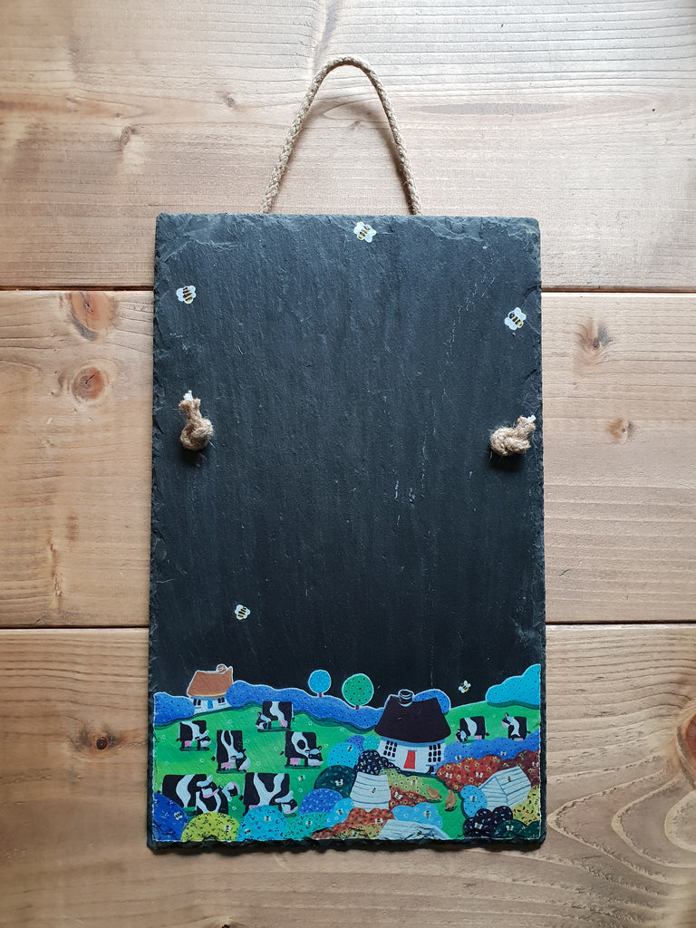 Cows & Bees Slate Chalk Board