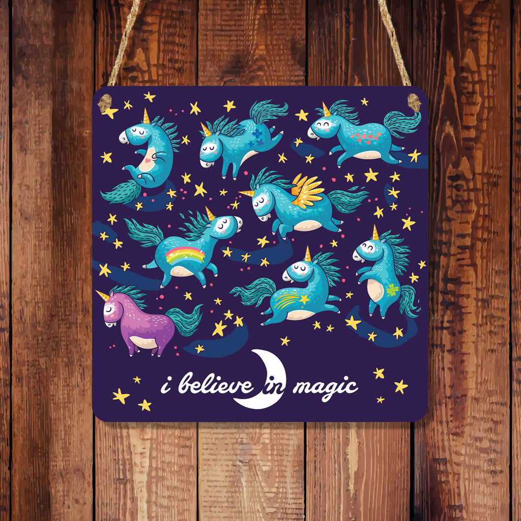 Square 'I Believe In Magic' Metal Hanging Sign