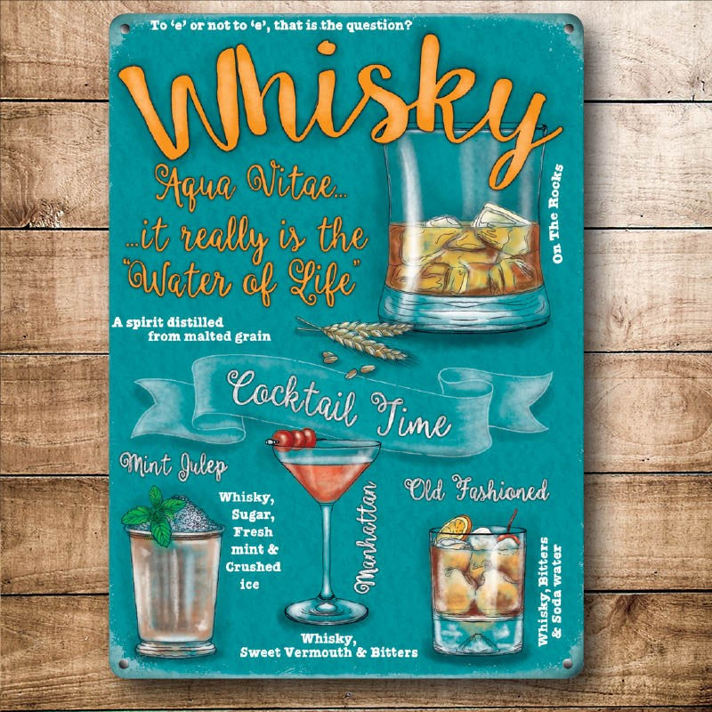 Whisky & Cocktails Metal Sign