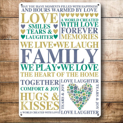 Family Love Word Art Metal Sign