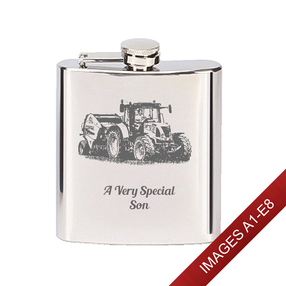 Engraved Stainless Steel 6oz Hip Flask - Image & Text (Images A1 - E8)