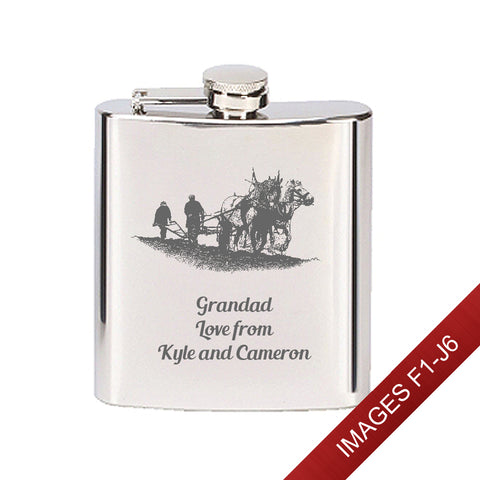 Engraved Stainless Steel 6oz Hip Flask - Image & Text (Images F1 - J6)
