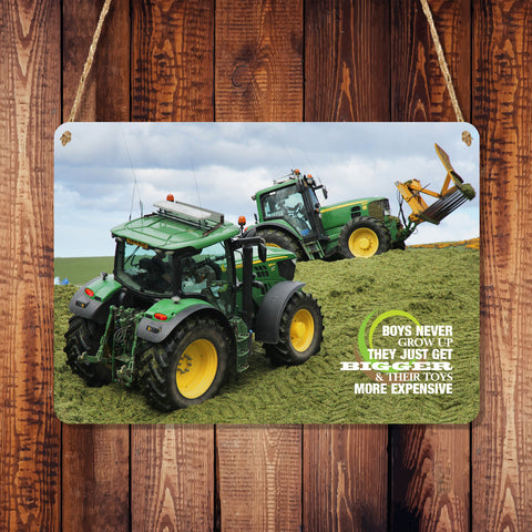 A6 Metal Hanging Sign - 'Boys Never Grow Up' Tractors on Silage Pit