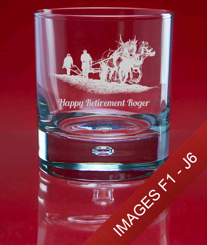 Engraved Whisky 305ml Bubble Glass In Gift Box - Image & Text (Images F1 - J6)