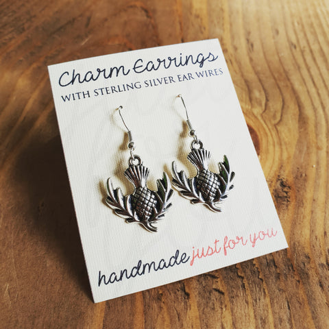 Charm Earrings with Sterling Silver Ear Wires, Thistles