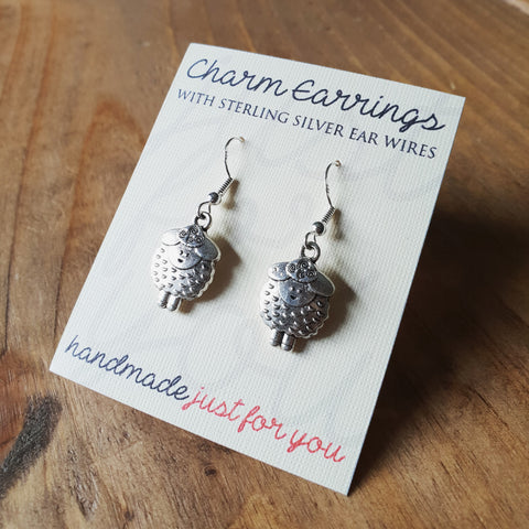 Charm Earrings with Sterling Silver Ear Wires  - Cute Sheep