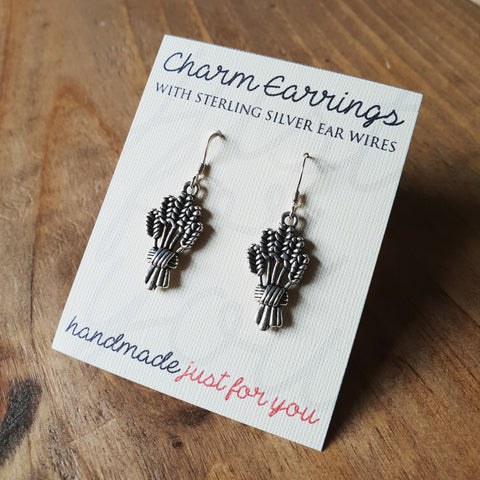 Charm Earrings with Sterling Silver Ear Wires, Wheat Sheaf