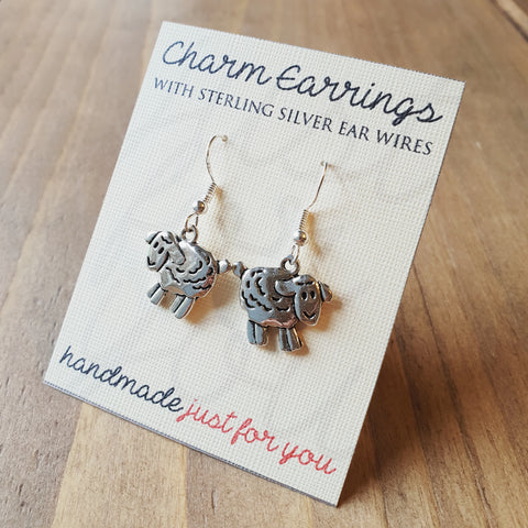 Charm Earrings with Sterling Silver Ear Wires - Sheep