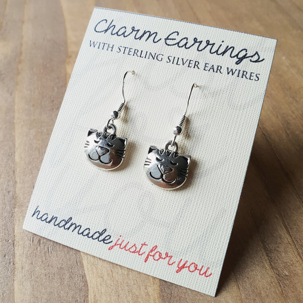 Charm Earrings with Sterling Silver Ear Wires  - Cat Face