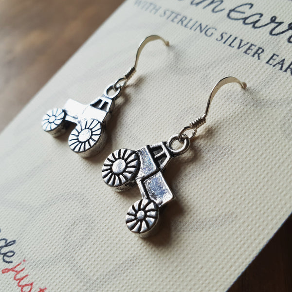 Charm Earrings with Sterling Silver Ear Wires  -  Tractors