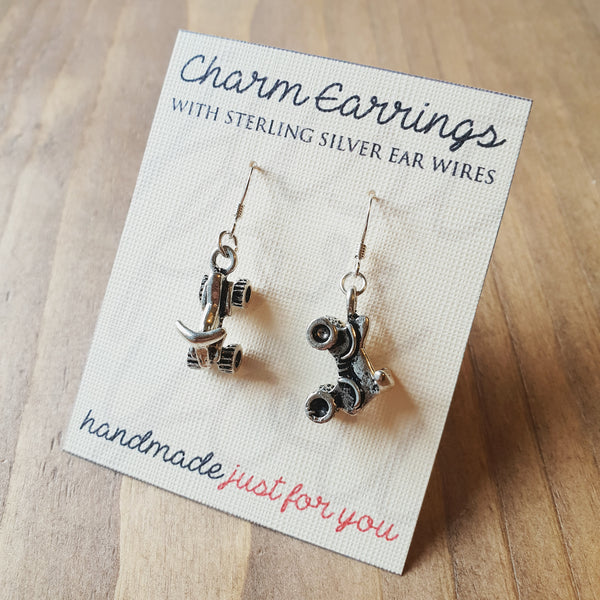 Charm Earrings with Sterling Silver Ear Wires  - Quadbikes