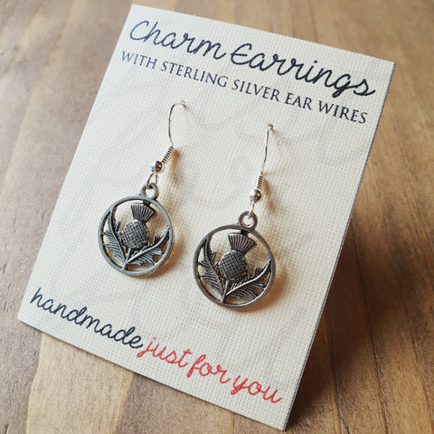 Charm Earrings with Sterling Silver Ear Wires  - Scottish Thistle