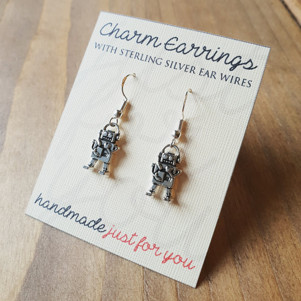 Charm Earrings with Sterling Silver Ear Wires  - Lovebot