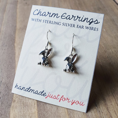 Charm Earrings with Sterling Silver Ear Wires  - Cute Bunny Rabbit