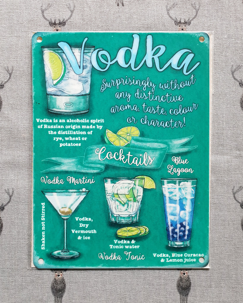 Vodka Cocktails Metal Sign