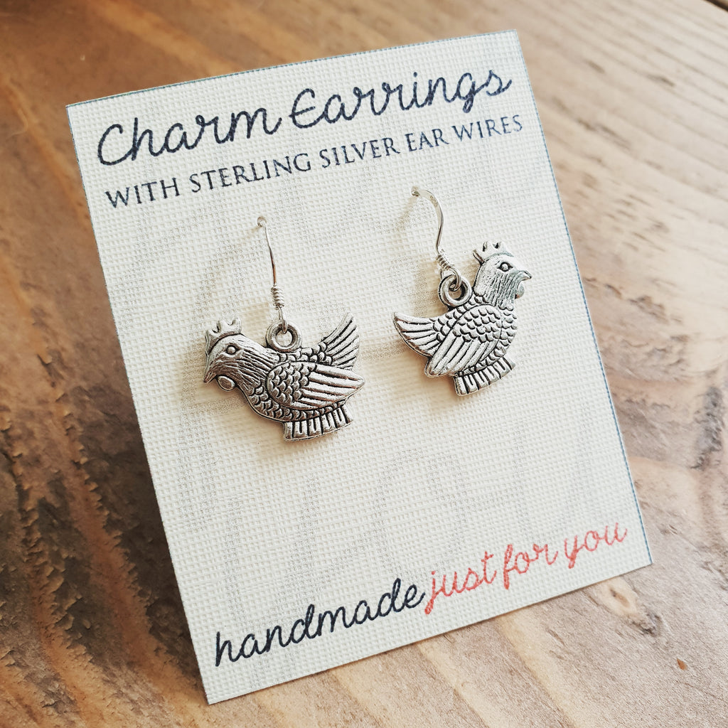 Charm Earrings with Sterling Silver Ear Wires - Chickens