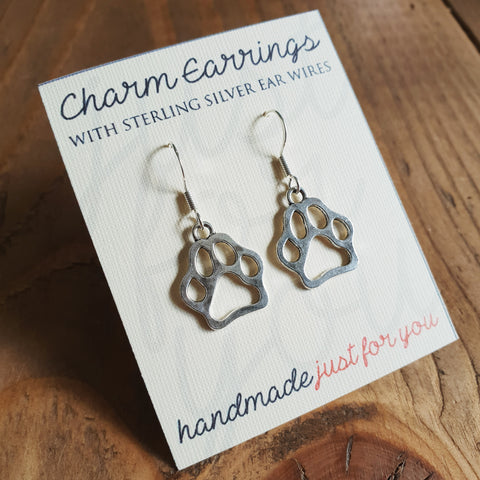 Charm Earrings with Sterling Silver Ear Wires - Paw Prints