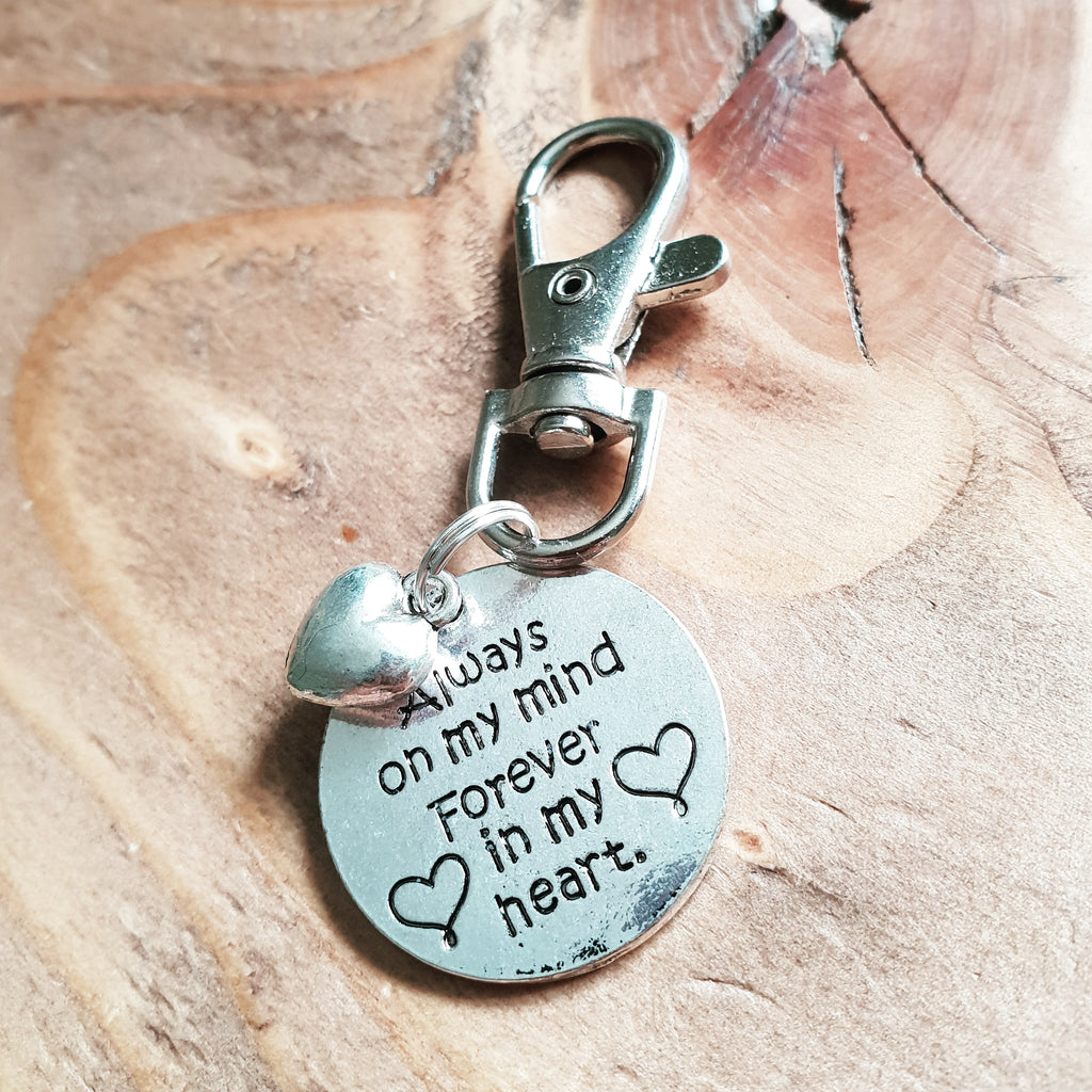 Sentimental 'Always On My Mind Forever In My Heart' Silver Tone Charm Clip Keyring