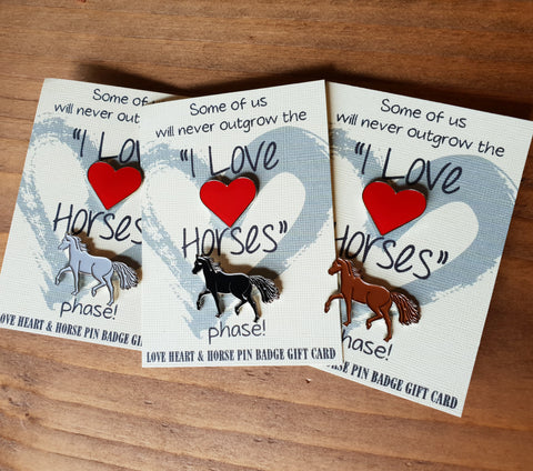 'I Love Horses Phase' Enamel Badge Pin Set, Horse & Heart