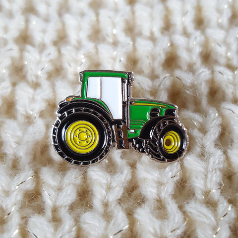Enamel Green Tractor Badge Pin