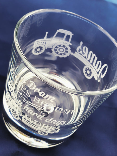 Engraved Whisky/Nip Bubble-Base Personalised Glass in Gift Box - Tractor 'A Dram Tastes Better...'