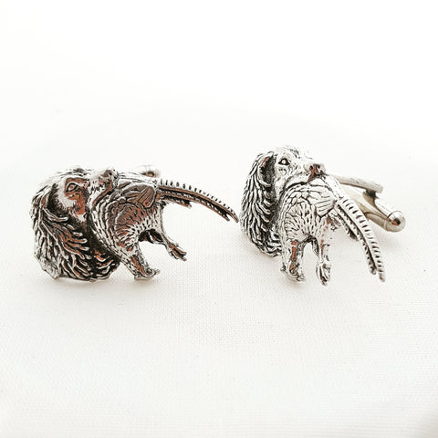 Solid Pewter Giftboxed Cufflink Set - Spaniel with Pheasant
