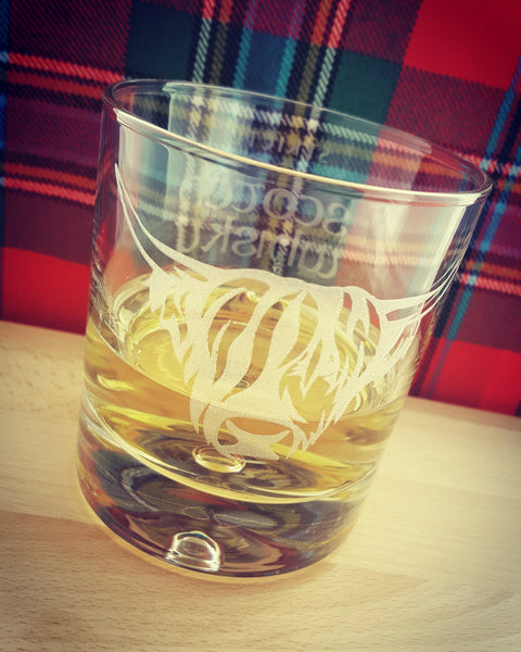 Engraved Whisky/Nip Bubble-Base Glass in Gift Box - Highland Cow 'Strictly Scotch Whisky Only'