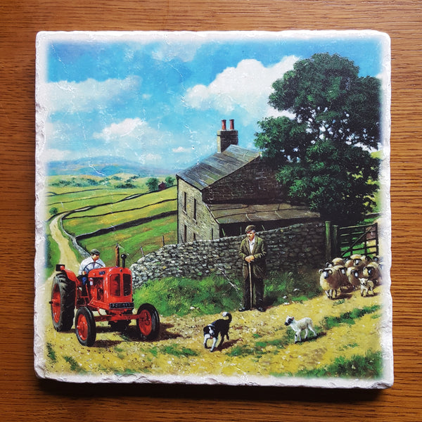 Lambing In The Dales - Marble Art Tile