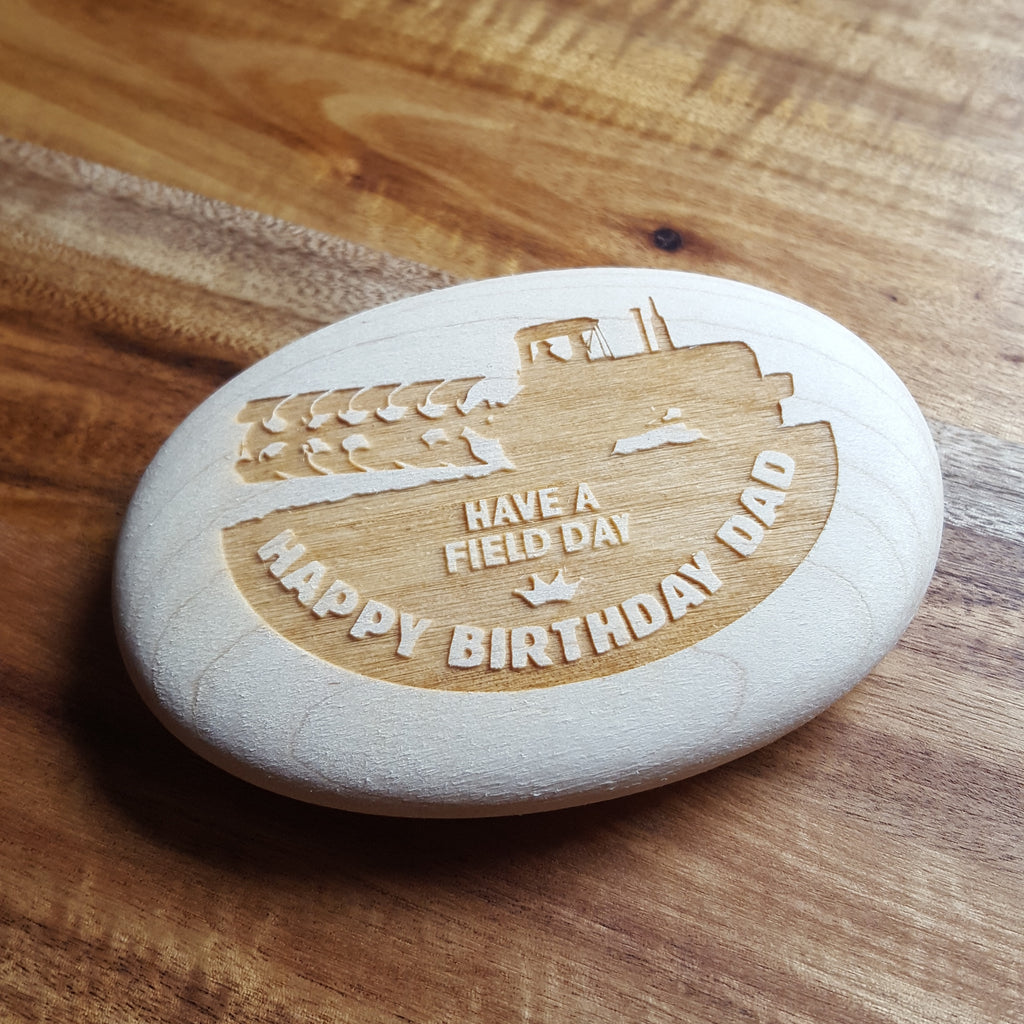 Laser Engraved Wooden Pebble In Gift Bag - Happy Birthday Dad