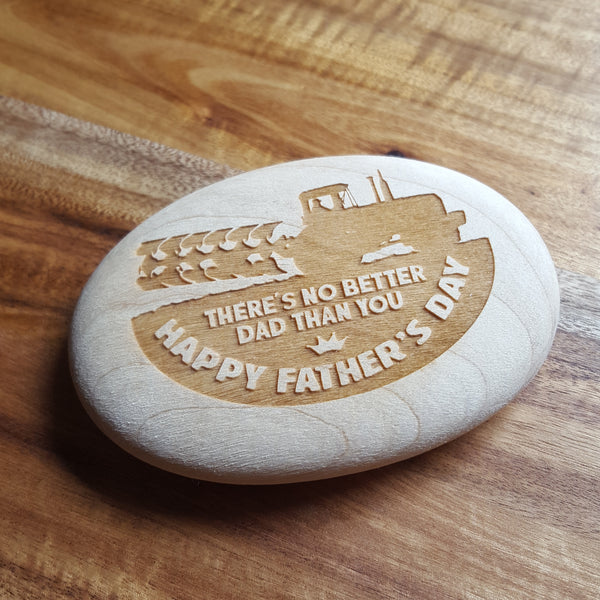 Laser Engraved Wooden Pebble In Gift Bag - Happy Father's Day