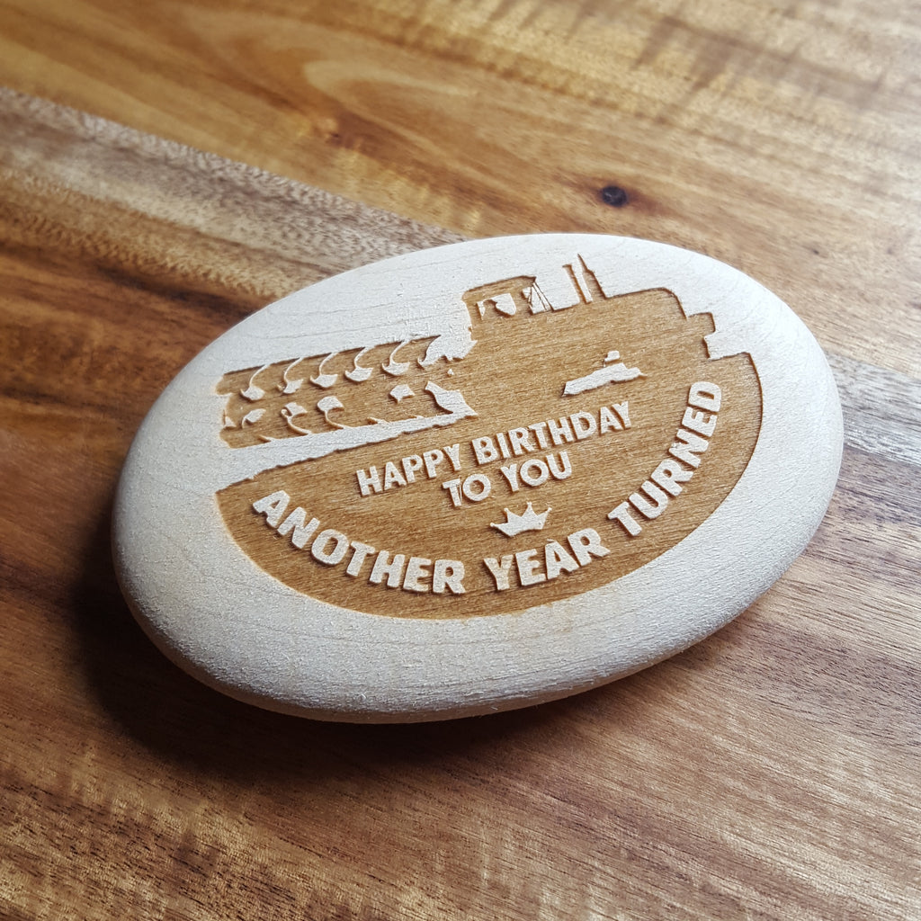 Laser Engraved Wooden Pebble In Gift Bag - Happy Birthday