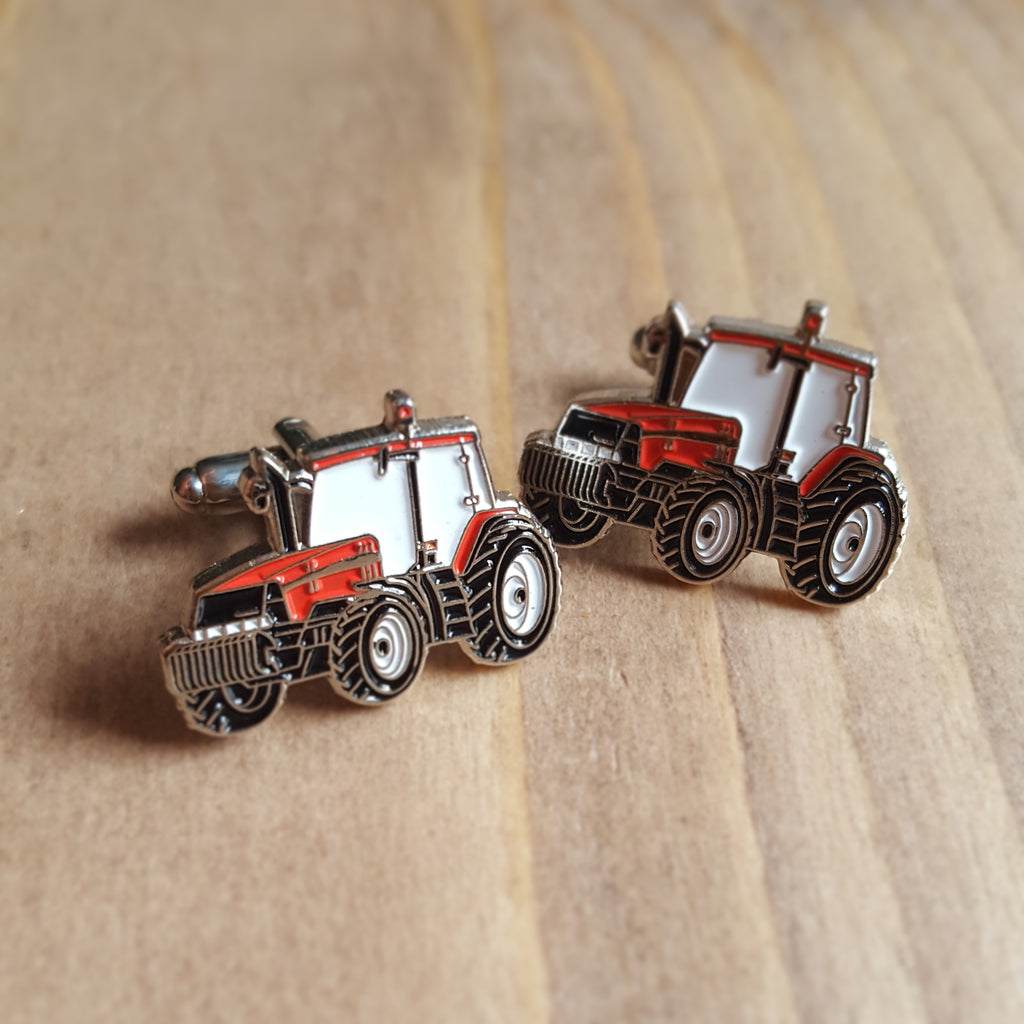 Enamel Gift Bagged Cufflink Set - Red Tractor