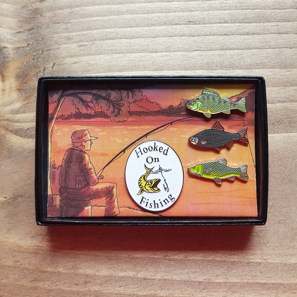 'Hooked on Fishing' Enamel Badge Pin Gift Boxed Set