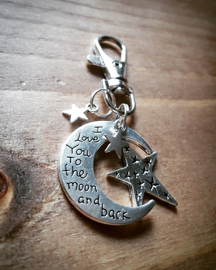 Sentimental 'I Love You To...' Silver Tone Moon Clip Keyring