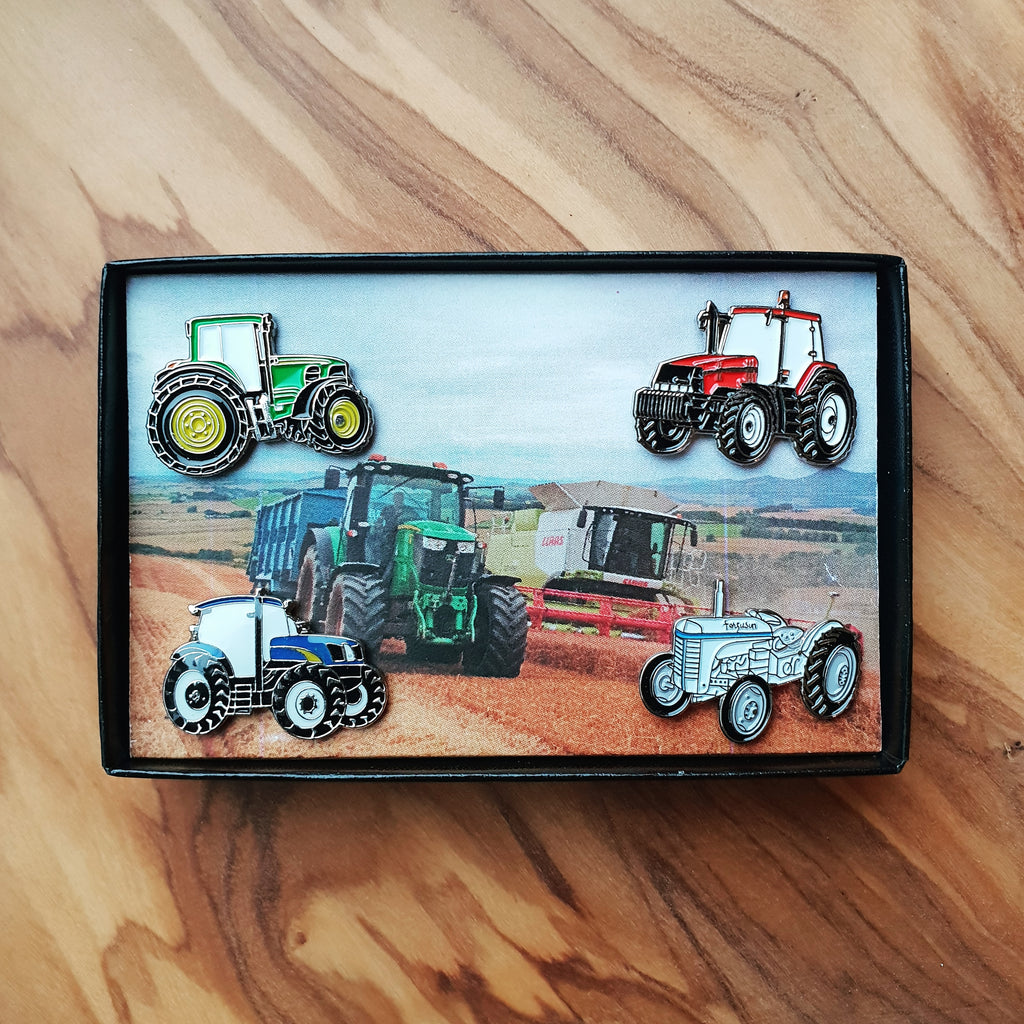 Four Tractors Enamel Badge Pin Gift Boxed Set
