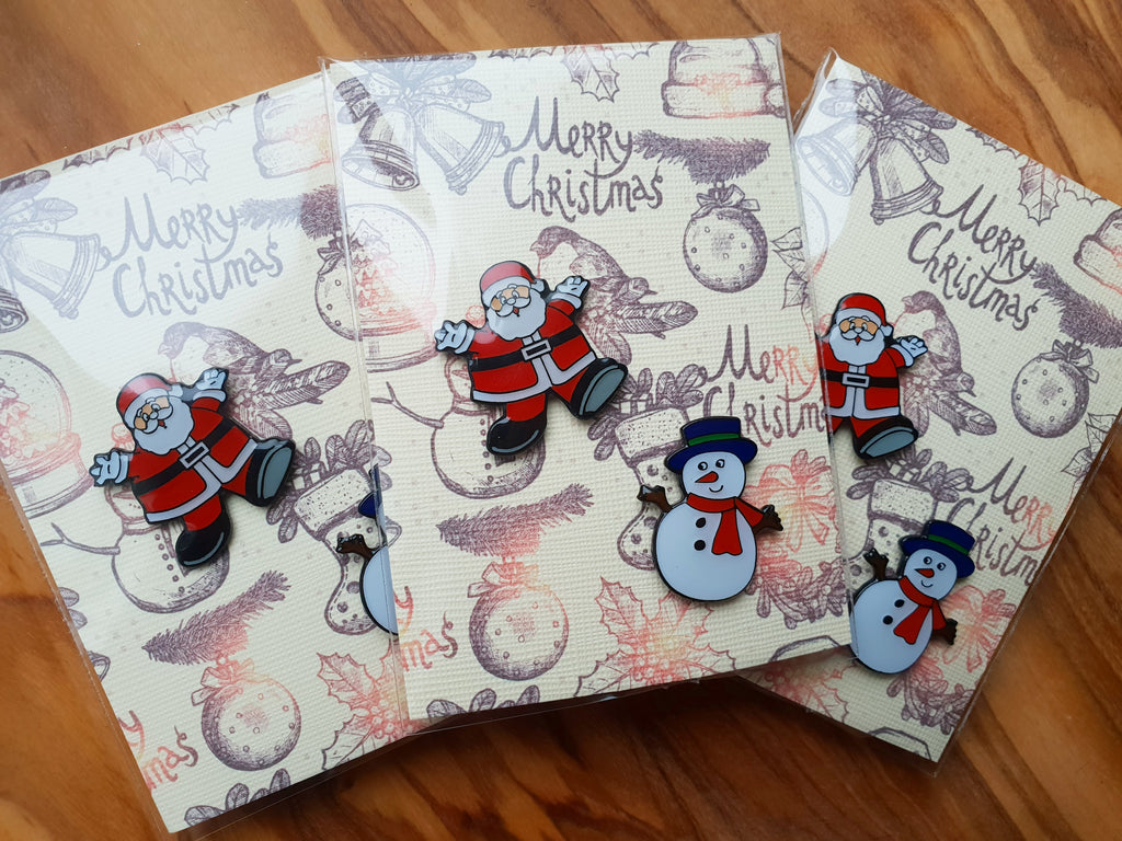 Santa and Snow Man - Christmas Badge Pin Gift Card