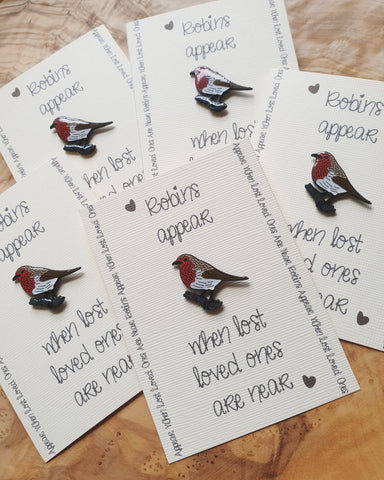 Enamel Badge Pin Gift Card, Robins Appear When Lost Loved Ones Are Near