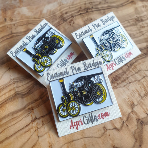 Enamel Traction Engine Badge Pin - Yellow