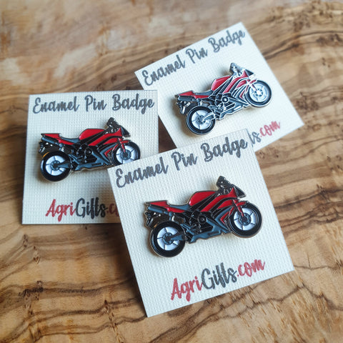 Enamel Red Motorcycle Superbike Badge Pin